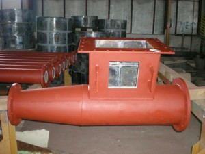 Piping element - hopper with basalt lining