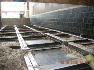 Basalt lining in wood chip boiler house